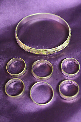 Assorted .925 Sterling Silver JEWELRY LOT- Etched Detail Bangle Bracelet & Rings