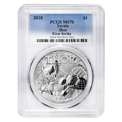 2018 1 oz Tuvalu Thor Marvel Series Silver PCGS MS 70 FS