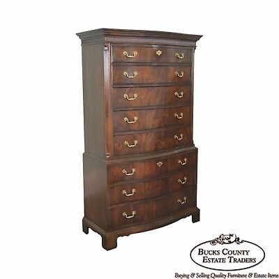 Drexel Heritage Flame Mahogany Chippendale Style Tall Chest on Chest