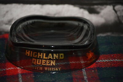 Highland Queen Scotch Whisky Round Flat Ashtray Aschenbecher Glas #c0260