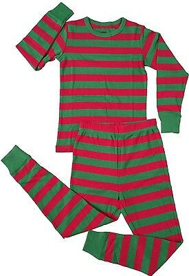 Leveret Boys Girls Christmas Striped Red & White Green 2 Piece Pajama (12M-14...