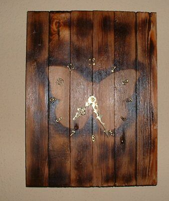 Recycled Wood Wall Clock Butterfly