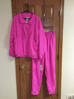 Vintage Bocoo Vivid Hot Pink Nylon Track Wind Suit Jacket Sz XL New with Tags!