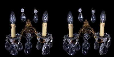 Stunning Pair Of French Bronze Crystal Vintage L.Pinet 2 Arm Wall Sconces Lights