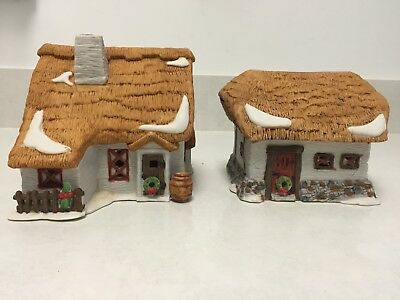 "Department 56 Dickens' Village Series ""barley Bree Farmhouse And Barn"" 1987 - Ob"