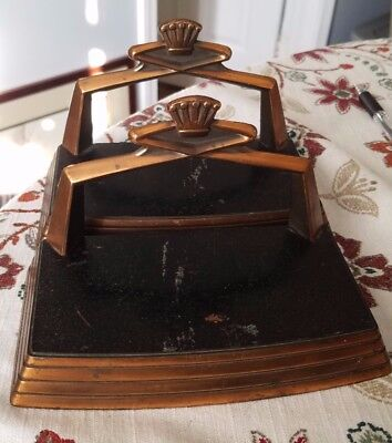 Vintage Coppertone Heavy Cast Iron Crown Bookends Black and copper