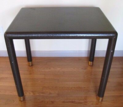SIGNED KARL SPRINGER LACQUERED WOOD & BRASS CONSOLE TABLE mid century 1970s side