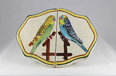 Vintage Fred Roberts Co Trivet with Parakeets - Made in Japan