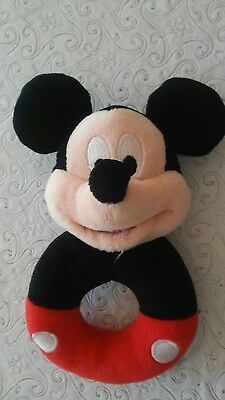 """Disney Store  Baby's  6"""" Plush Rattle  Mickey Mouse"""