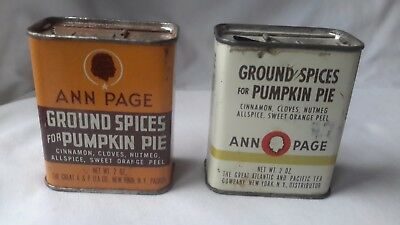 Vintage ANN PAGE Ground SPICES for Pumpkin Pie Lot of two A & P 2 oz tins