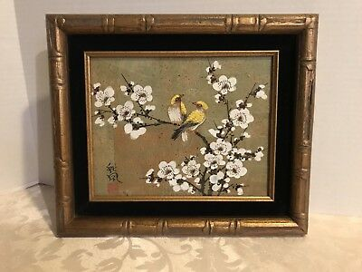 Antique Japanese artist Signed original Cork Watercolor Painting of Yellow Birds