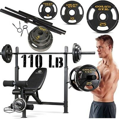 Olympic Weight Bench Press With Weights Set Plate Bar Lifting