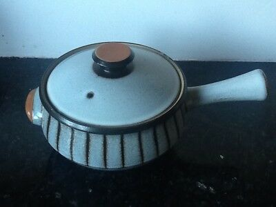 Vintage earthenware Denby table dish with lid and handle