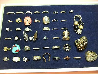 Lot Of 45 Vintage Costume Jewelry Rings Some Marked Sterling Double Angel Garnet