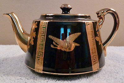 Vintage Gibsons English glossy black art deco teapot with gold birds and accents