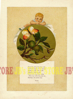 Baby, Bee & Butterfly, 1882 Chromolith Print with Good-Night Nursery Poem
