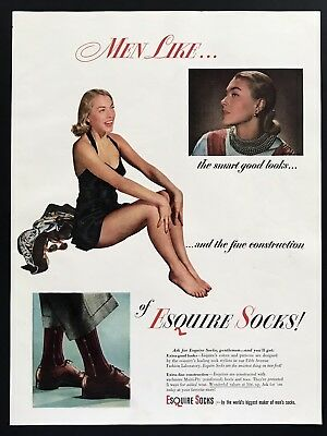 1947 Vintage Print Ad ESQUIRE SOCKS Fashion Woman In Swimsuit 40's Style