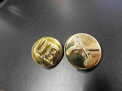 WW2 US Army Enlisted MP Collar Discs Brass Clutch Back Set Army  WWII