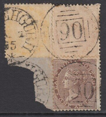 British India QV 1856-64 2 Annas Yellow-Buff x2 Used on Piece SG42 CV£90