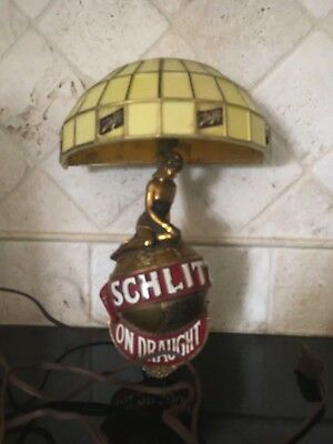 Vintage Schlitz Beer Woman Lady Gold World Globe Wall Sconce Lamp Light Bar Sign