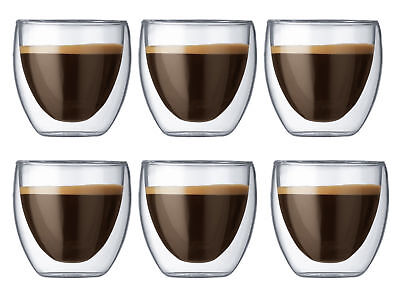 Doppelwandige Cafe Creme Kaffee Cappuccino Glas 250 ml Thermo Gläser
