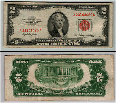 1953 $2 Dollar Bill Old Us Note Legal Tender Paper Money Currency Red Seal W335
