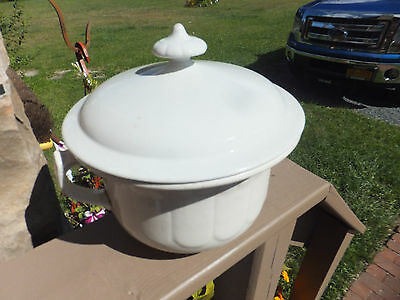 Vintage Antique Ironstone Chamber Pot Commode With Lid Cover