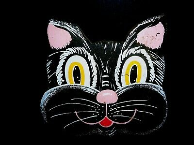 CARNIVAL ART SMILING BLACK CAT FACE Vintage Graphics Wood Wall Plaque Halloween