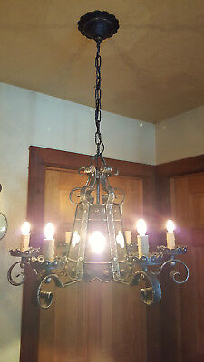 Vintage Spanish Revival / Gothic Revival chandelier. Made in Italy Mid Century