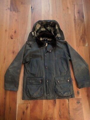 Barbour Waxed Jacket Classic Bedale Men's Olive Size 32 with hood