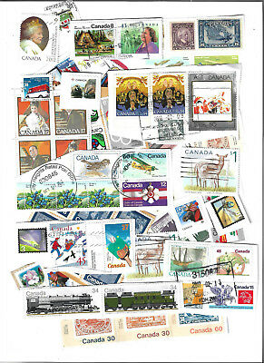 Mix of Canada Used on Paper, more than 100 stamps