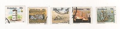 1995 Zimbabwe Culture issue x 5 stamps - mostly MINING featured - USED