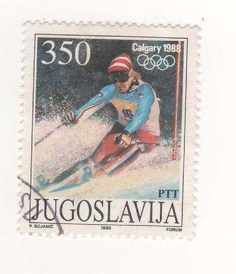 1988 FPR of Yugoslavia - 350d. Skiiing -  Olympic Games, Calgary SG#2434 USED