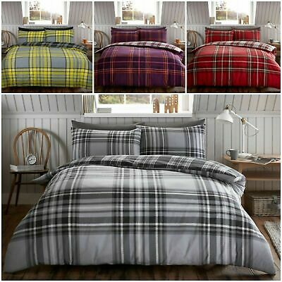 Flannel 100% Brushed Cotton Tartan Check Soft Cosy Duvet Covers Bedding Sets GC