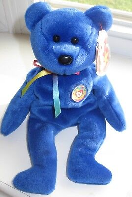 """Clubby Beanie Baby, Born July 7, 1998, Sports a Colorful Pin """"Official Club"""""""