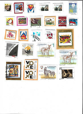 70 used Canadian stamps, most off paper