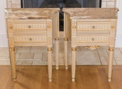 Pair of Elegant Antique Italian Neoclassical Nightstands with Marble Tops