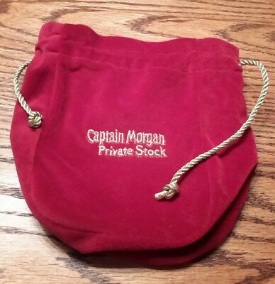 "Captain Morgan  Private Stock Red and Gold Suede Drawstring 9"" Pouch Bag NEW"