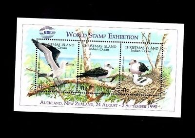Christmas Island 1990 Abbott's Booby  Miniature Sheet With Nz Opt Exhibition Mnh