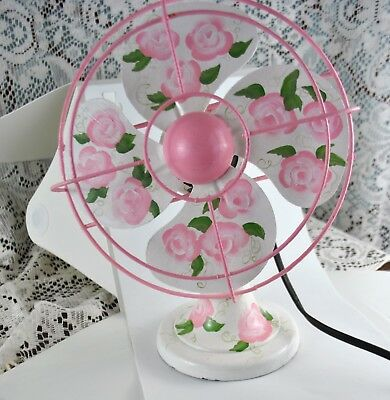 """Vintage 10"""" Small Desk Fan Hand Painted - Working Motor - Needs rewired Antique"""
