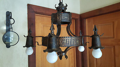 Antique 20's or 30's Gothic iron chandelier complete with canopy