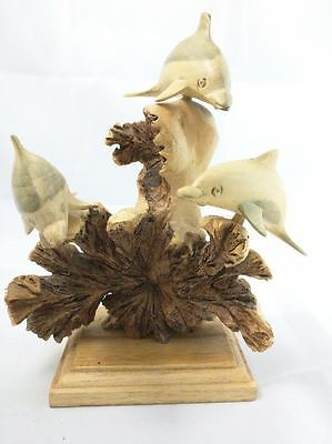 Beautiful Hand Carved School of 3 Dolphins Family Parasite Wood Chinaberry Pod