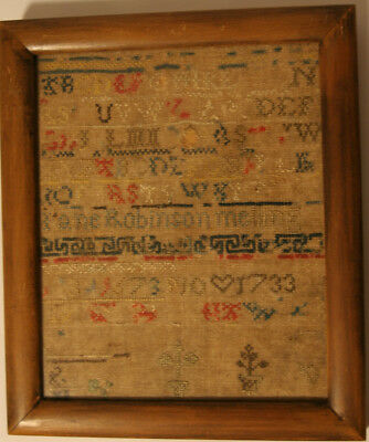 Early 17th Century Antique Sampler Jane Robinson Melling 1733