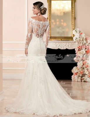 New Mermaid Wedding Dresses 2018 Lace Appliques Long Sleeve Bridal Gowns Custom