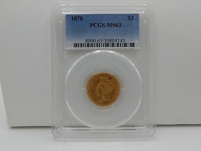 1878 Indian Head Princess Gold $3 PCGS MS 63 Key Date Coin RARE Looks Proof NR