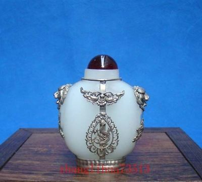 Collectible Handmade Carving White Jade & Silver Inlay Snuff Bottles