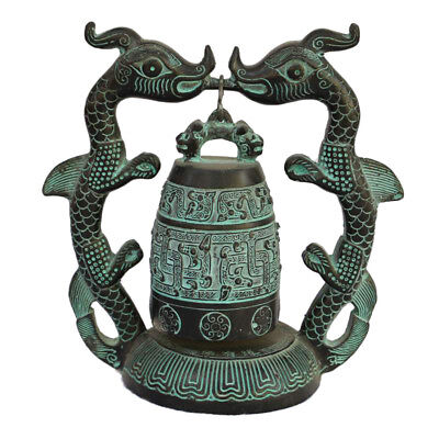 Antique china bronze hand made double dragon bell statue