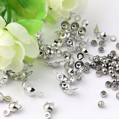 50 x Silver End Crimp Beads Knot Cover & 50 x cooper crimping beads Findings Kit