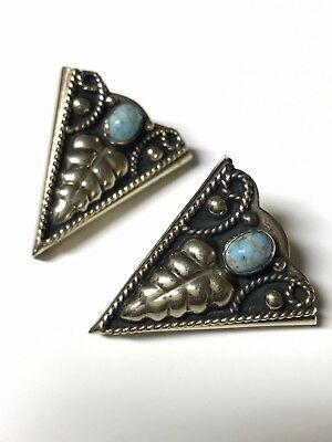 Vintage Mexican Alpaca Silver Western Style Collar Tips With Turquoise Gemstone