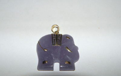 Chinese Lavender & 10K Yellow Gold Elephant Pendant Or Charm
